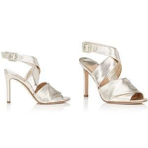 DIANE VON FURSTENBERG Platinum Leather Sandals